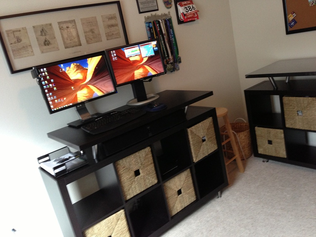 how to make a low cost at home standing desk the fit formula. Black Bedroom Furniture Sets. Home Design Ideas